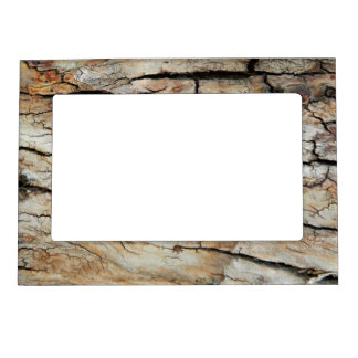 Old cracked wood natural tree bark picture magnetic photo frame