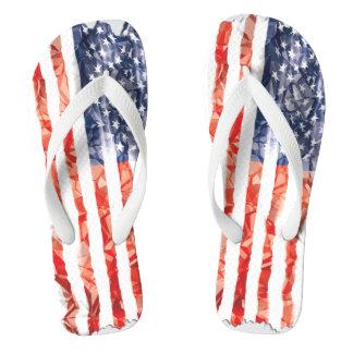 Old Creased American Flag Flip Flops