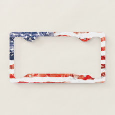 Old Creased American Flag License Plate Frame