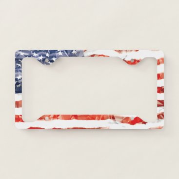 USA Themed Old Creased American Flag License Plate Frame