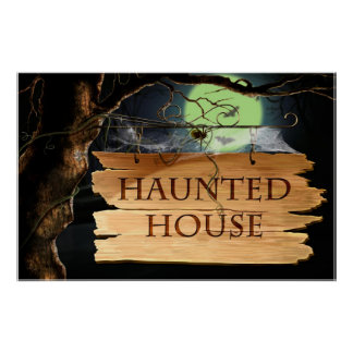 Old Creepy Haunted House Poster