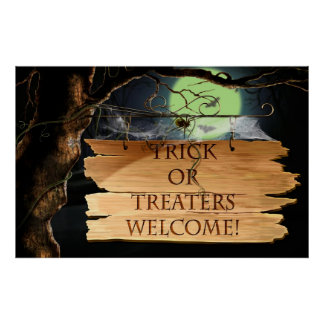 Old Creepy Trick or Treaters Welcome Poster