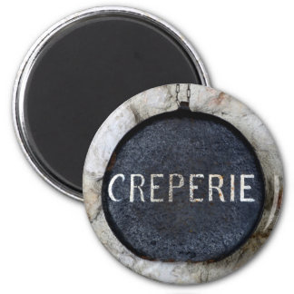 Old Crepe Pan Creperie Sign in Annecy, France 2 Inch Round Magnet