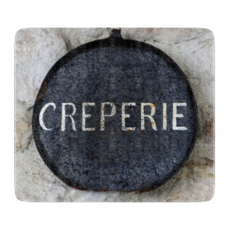 Old Crepe Pan Creperie Sign in Annecy, France Cutting Board