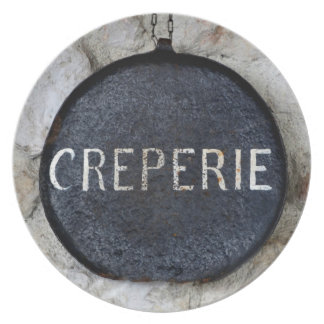 Old Crepe Pan Creperie Sign in Annecy, France Dinner Plate