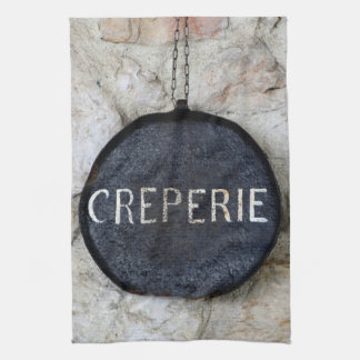 Old Crepe Pan Creperie Sign in Annecy, France Hand Towel