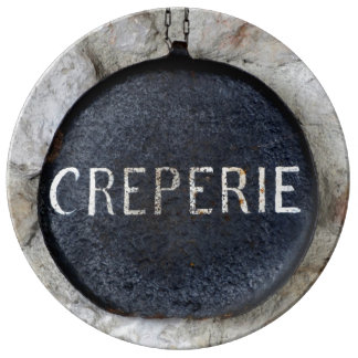 Old Crepe Pan Creperie Sign in Annecy, France Plate