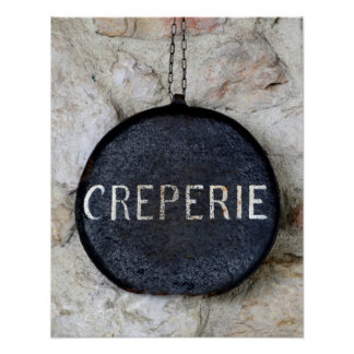 Old Crepe Pan Creperie Sign in Annecy, France Poster
