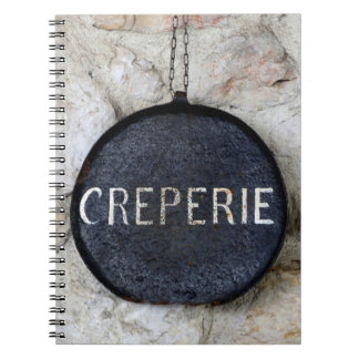 Old Crepe Pan Creperie Sign in Annecy, France Spiral Notebook