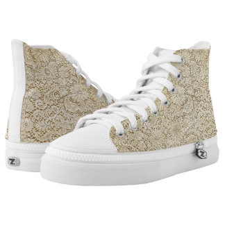 Old Crochet Lace Floral Pattern + your ideas High-Top Sneakers