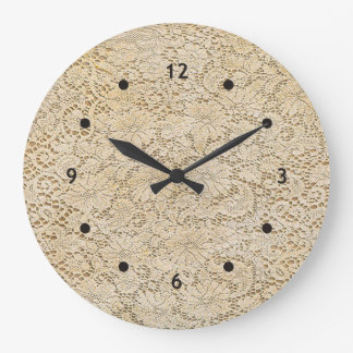 Old Crochet Lace Floral Pattern + your ideas Large Clock