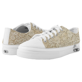 Old Crochet Lace Floral Pattern + your ideas Low-Top Sneakers
