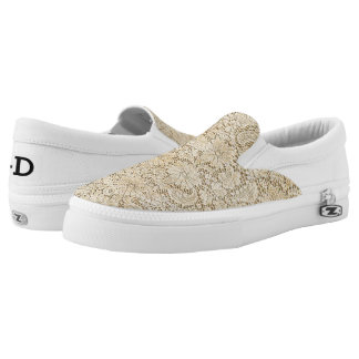 Old Crochet Lace Floral Pattern + your ideas Slip-On Sneakers