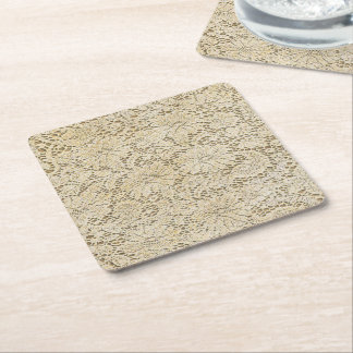 Old Crochet Lace Floral Pattern + your ideas Square Paper Coaster