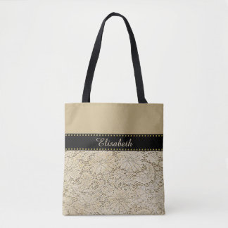 Old Crochet Lace Floral Pattern + your ideas Tote Bag