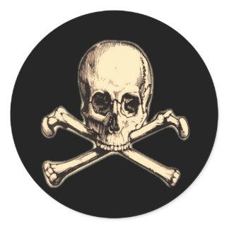 Old Cross Bones Classic Round Sticker