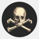 Old Cross Bones Round Stickers