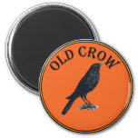 old crow 2 inch round magnet