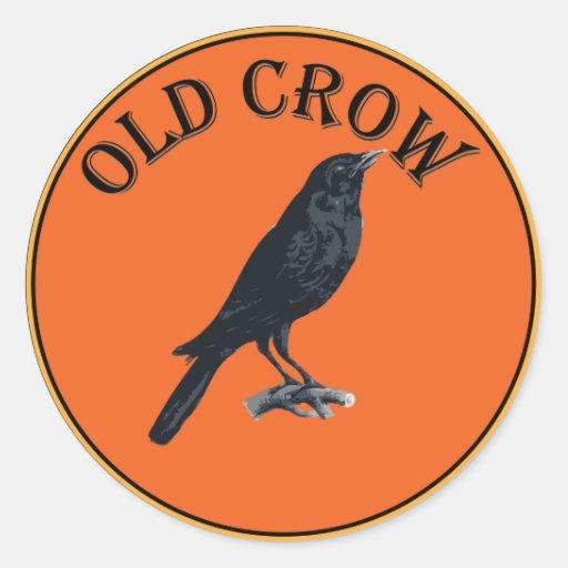 old crow classic round sticker