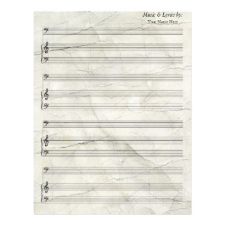 Old Crumpled   Blank Sheet Music Bass Clef Personalized Letterhead