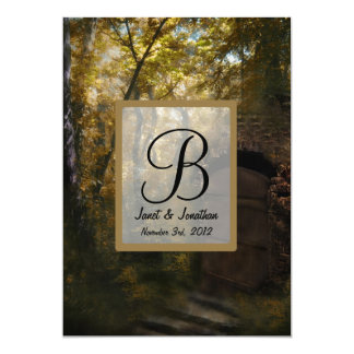 Old Crypt in Autumn Monogram Personalized Announcements