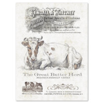OLD DAIRY COW AD VINTAGE FARMHOUSE TISSUE PAPER