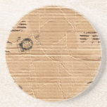Old Damaged Brown Cardboard With Stamps And Stains Beverage Coasters