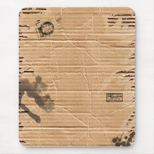 Old Damaged Brown Cardboard With Stamps And Stains Mouse Pad