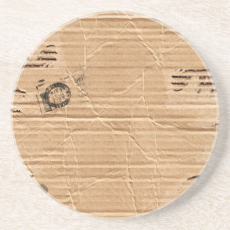 Old Damaged Brown Cardboard With Stamps And Stains Sandstone Coaster