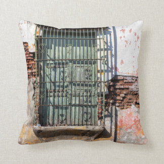 Old Damaged Building Throw Pillow