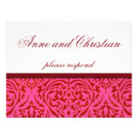 Old Damask Fuscia Wedding RSVP Cards Personalized Announcements