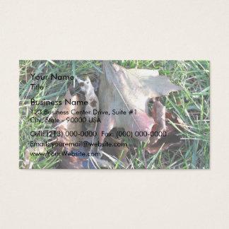 Old dead leaf on grass business card