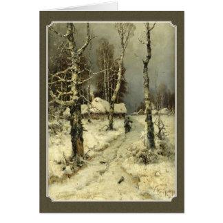 old deep winter landscape greeting card