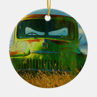 Old Derelict Vintage Truck Art Double-Sided Ceramic Round Christmas Ornament