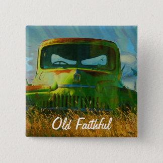 Old Derelict Vintage Truck Art Pinback Button