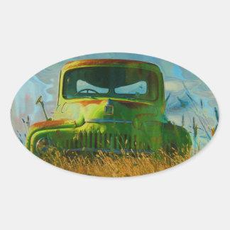Old Derelict Vintage Truck Art Oval Sticker