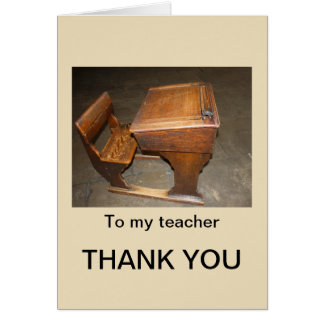 Old Desk and Chair Thank You Teacher Card