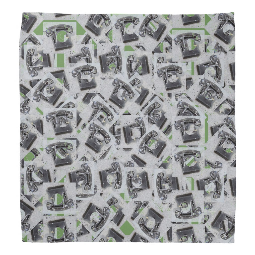 Old Dial Telephone Collage Bandana