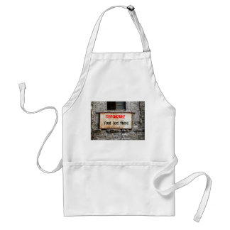 Old Dirty Sign on Abandoned Building Customizable Adult Apron
