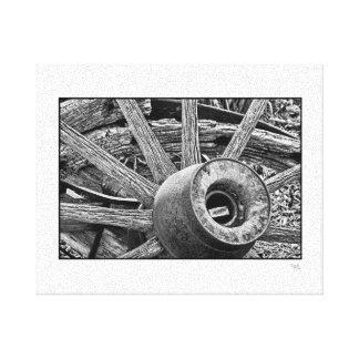 Old Distressed Wood Wagon Wheel Canvas Wrap Canvas Print