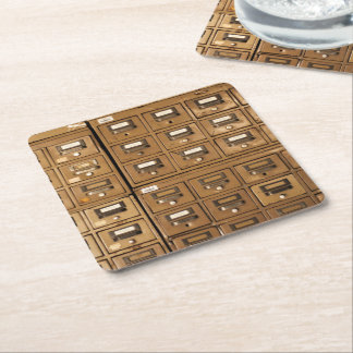 Old Disused Filing Cabinets Square Paper Coaster