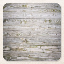 Old Dock Wood Square Paper Coaster