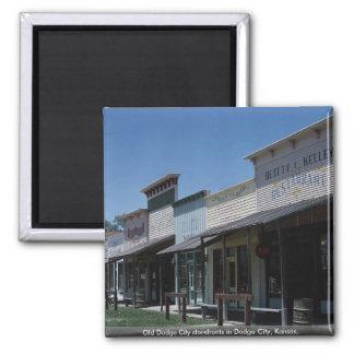 Old Dodge City storefronts in Dodge City, Kansas, 2 Inch Square Magnet