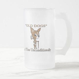 """OLD DOG"" Logo with Sayin' 16 Oz Frosted Glass Beer Mug"