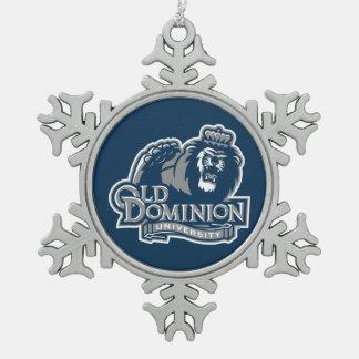 Old Dominion University Logo Snowflake Pewter Christmas Ornament