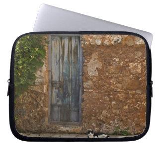 Old door and resting cat laptop sleeve