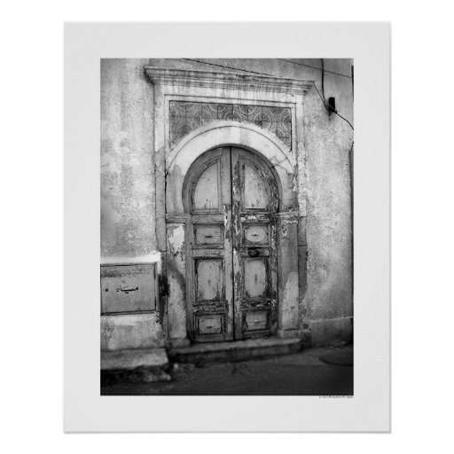 Old Door in Tripoli (B&W) Poster