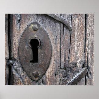 Old Door Keyhole Poster