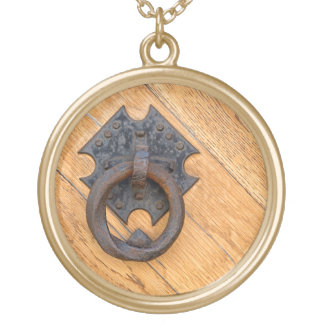 Old door knocker gold plated necklace