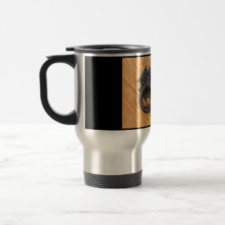 Old door knocker travel mug